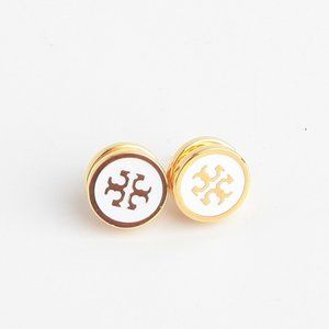 Tory Burch Lacquered Logo White Stud Earrings